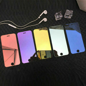 Colorful MIRROR Tempered Glass Screen Protector Cover For iPhone Series