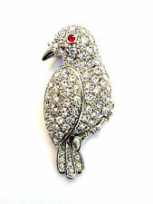 Crystal Bird Brooch Pin Red Eye Silver Plated Fashion Jewelry Mothers Day Gifts