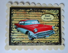 PACK 2 BEST FRIEND RED CADILAC CAR TOPPER EMBELLISHMENTS  FOR CARDS AND CRAFTS