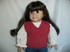 "18"" Doll Knitting Pattern will fit American Girl Classic V-neck Vest"