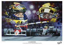 LEWIS HAMILTON AYRTON SENNA limited print by Greg Tillett FORMULA ONE F1 POSTER