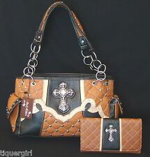 Rustic Couture Spice  Handbag w/FREE Matching Wallet ~Cross
