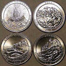 BU UNC United States 2012 America the Beautiful 4x quarter 25 cent coins P/D