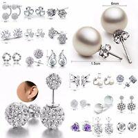 Hot Elegant Women 925 Silver Crystal Rhinestone Pearl Ear Earrings Hoop Jewelry