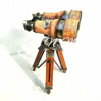 Antique Binoculars With Wooden Tripod Leather Covered Marine Gift Item