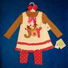 "New ""BONNIE JEAN"" (2T) Three Piece Christmas Reindeer Holiday Pants Set"