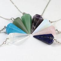 Gemstones Amethyst Quartz Crystal Healing Dowsing Chakra Chain Pendant Pendulum