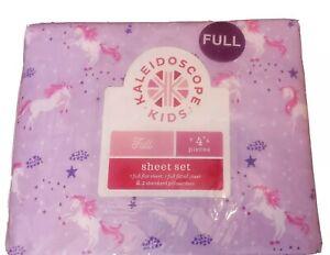 Kaleidoscope Kids Purple Full Unicorn Bed Sheet Set For Kids