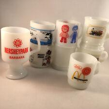 Vintage Milk Glass Mugs Lot of 8 Federal Anchor Hocking Fire King Avon