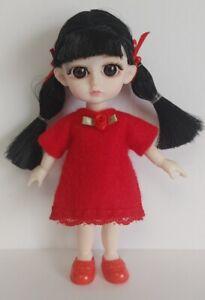 16cm BJD Doll Clothes - Red Felt DRESS Handmade 1/8 Fashion NO DOLL dolls4emma