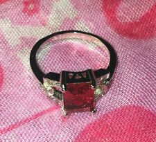 EXQUISITE RUBY CRYSTAL RING - SIZE 8