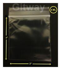 100 Small 2x2 Resealable Zipper Zip Top Lock Clear Plastic Bags Fda 4 Ml