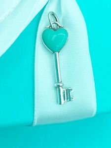 "Tiffany & Co Sterling Silver Blue Enamel Heart Key Pendant/ Charm 1.1""Genuine"