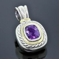 David Yurman Sterling Silver 14K Yellow Gold Amethyst Cable Pendant Enhancer