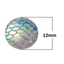 10 pcs. White Iridescent Mermaid Fish Scales Dragon Cameo Domes Cabochons - 12mm