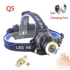 Q5 Led Headlamp Head Lamp Headlight flashlight USB Rechargeable Sensor Torch