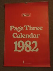 THE SUN PAGE THREE CALENDAR 1982 vintage well looked after