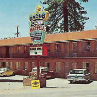 Vintage 1960s Crown Motel Postcard Kings Beach Swimming Pool Private Beach Cars