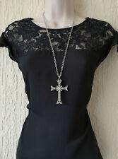 """Gorgeous 28"""" long SILVER tone & BIG fancy diamante cross pendant chain necklace"""