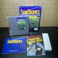 STAR TROPICS Nintendo NES Complete Box CIB With Attached Letter, Manual,& Poster