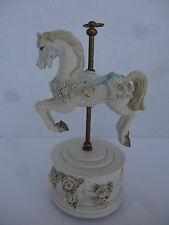 "Carousel Horse Music Box 7.5"" White with Roses"