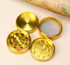 Gold 4 Part Herb Grinder Metal Gold Magnetic Pollinator Herb Crusher GOLD BAR