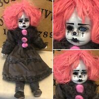 Free USA Shipping creepy Dark Art doll Ooak Horror Pink Hair Clown Psycho Circus