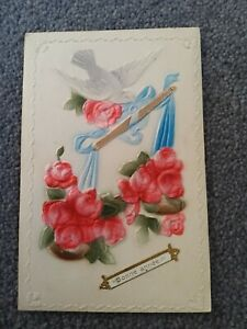 1911 French Happy New Year Postcard. White Fabric Dove With Red Fabric Flowers