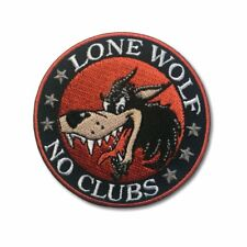 Embroidered Lone Wolf No Clubs Cartoon Wolf Sew or Iron on Patch Biker Patch