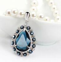 Luxus Damen Mode Halskette Perlen Kette 50cm Collier mit Anhänger Zirkonia M57
