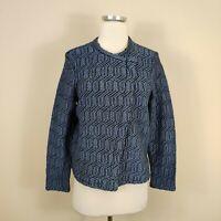 Ann Taylor Loft L Petite Asymmetric Zip Knit Jacket Blue Black