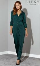 BNWT🌹LIPSY @ NEXT🌹Size 6 FOREST GREEN SATIN LONG SLEEVE JUMPSUIT XS New