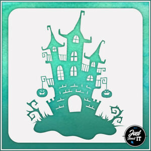 Haunted House #1 - durable and reusable stencil for DIY painting & crafts