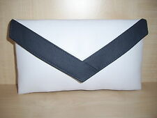 SMALL WHITE & NAVY BLUE faux leather & genuine leather trim envelope clutch bag