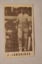 1940's Vintage G.J.Coles Cricket Card -  J.Langridge - Sussex
