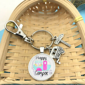 1 Pcs Happy Camper Keychain with Camper Charm Camping Keychain Pendant 3810