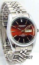 Swanson Men Silver-Burgundy Dial, 1 Sapphire-Crystal, Dress Watch