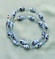 Vintage Japanese Millefiori Blue Art Glass Bead / AB Blue Crystal Bead Necklace