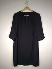 M&S Marks and Spencer Black Shift Dress Size 12 Petite 3/4 Sleeve Tunic