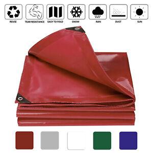 PVC Tarp Tarpaulin Cover 8'×12' Heavy Duty Thick Material Waterproof Camping