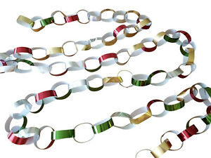 80 Coloured Foil Printed Paper Chains Christmas Decorations Shiny Peel Seal Xmas