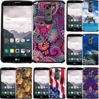 LG G Stylo 2 Plus (MS550) Case Hybrid Phone Cover Dolphin Mandala Paisley