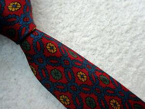 VINTAGE BURGUNDY BLUE GOLD 3.75 INCH SILK TIE necktie by GIEVES LONDON