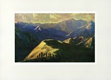 "1955 ""Twilight in the Northwest"" Vietnam War Lacquer Painting Vintage Art Print"