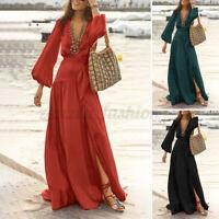 ZANZEA Women Autumn Evening Dress Cocktail Dress Flare A-Line Long Maxi Dress