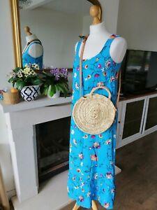 99P bid NEW HUSH Avner blue floral Swing Dress Summer Holiday UK 14