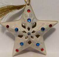 LENOX STAR OF FREEDOM Christmas Ornament wBox China 24K Gold Swarovski Patriotic