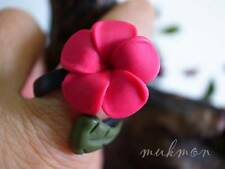 Handmade Luna Clay Plumeria Flower Chic Adjustable Resin Ring Womens Fashion
