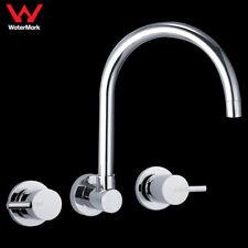 WELS 1/4 Turn Kitchen Lollypop Wall Sink Tap Set Brass Chrome Swivel Spout