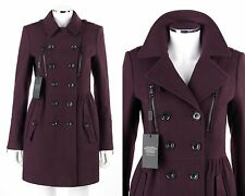 """BURBERRY Brit """"Winsleigh"""" Eggplant Purple Wool Double Breasted Jacket Coat 2 NWT"""